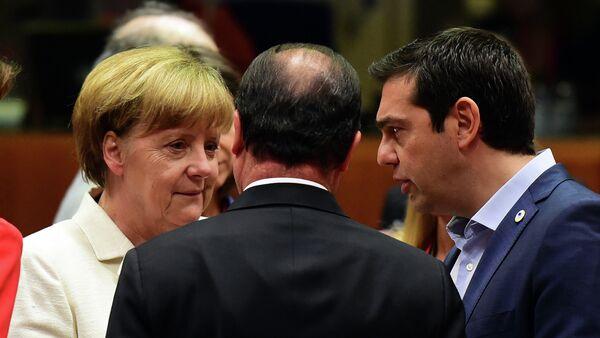 Angela Merkel, Francois Hollande i Aleksis Tsipras - Sputnik Polska