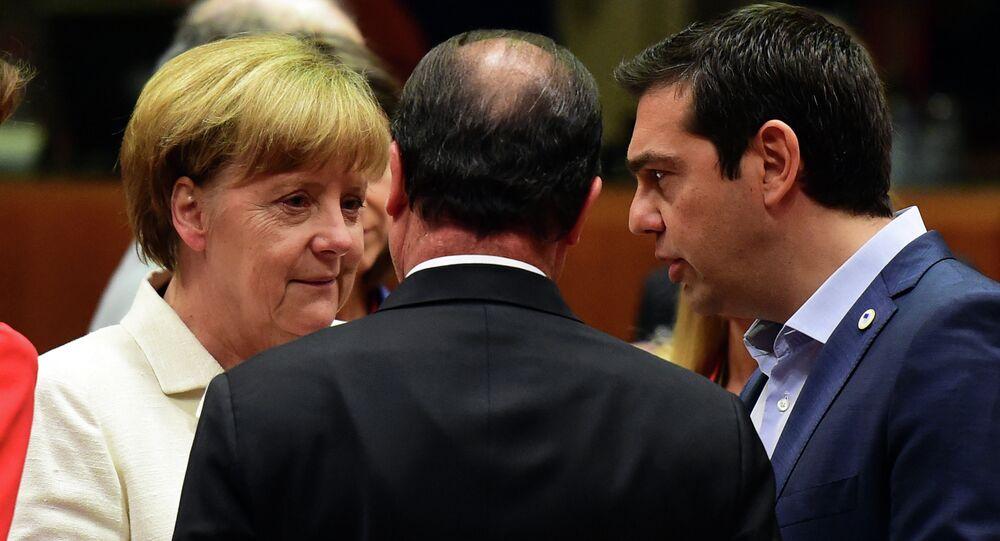Angela Merkel, Francois Hollande i Aleksis Tsipras