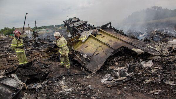 Ratownicy na miejscu katastrofy malezyjskiego Boeinga 777 w obwodzie donieckim - Sputnik Polska