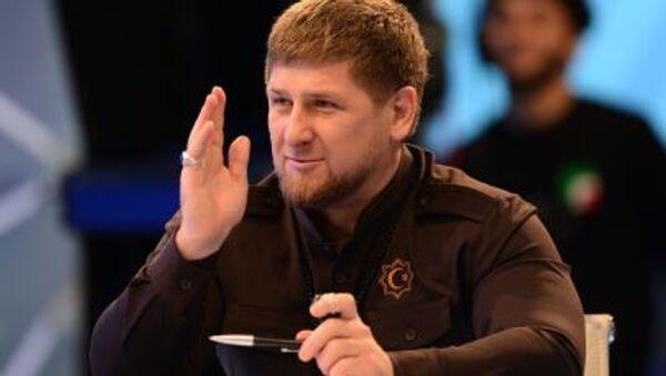 Szef Czeczeńskiej Republiki Ramzan Kadyrow na konferencji prasowej - Sputnik Polska