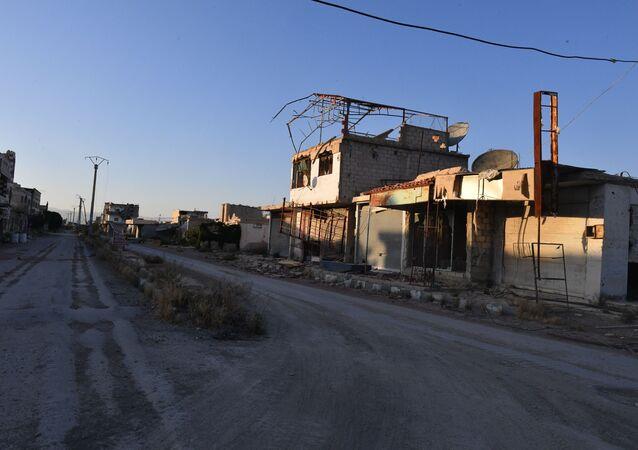 Budynki zniszczone w wyniku działań zbrojnych na przedmieściach Damaszku Wschodnia Guta