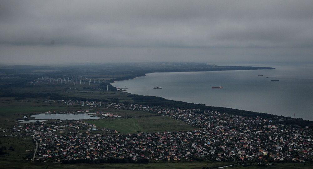Widok z pokładu śmigłowca na Zielenogradsk w obwodzie kaliningradzkim