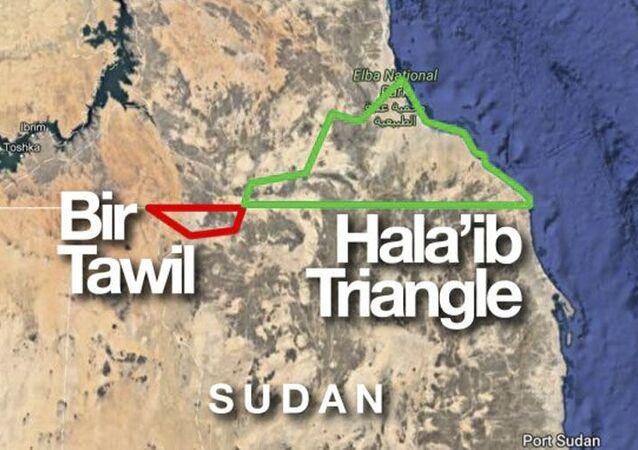 Mapa granicy Egiptu i Sudanu