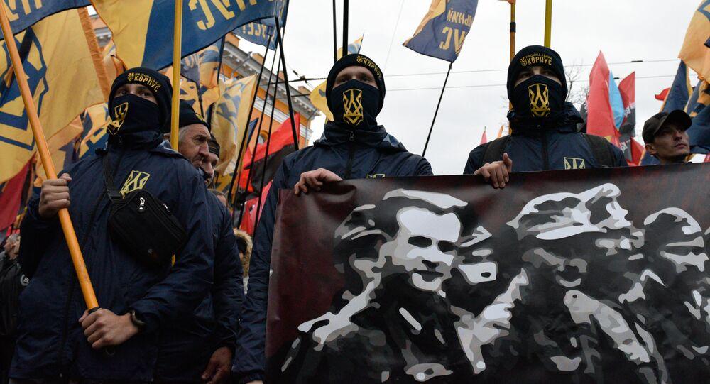 Uczestnicy marszu w Kijowie z okazji rocznicy powstania Ukraińskiej Powstańczej Armii (UPA, organizacja ekstremistyczna zakazana w Rosji) i Dnia Obrońcy Ukrainy
