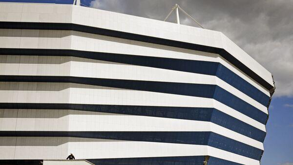 """Fragment fasady """"Stadionu Kaliningrad"""" budowanego na Mistrzostwa Świata w Piłce Nożnej 2018 na Wyspie Październikowej - Sputnik Polska"""