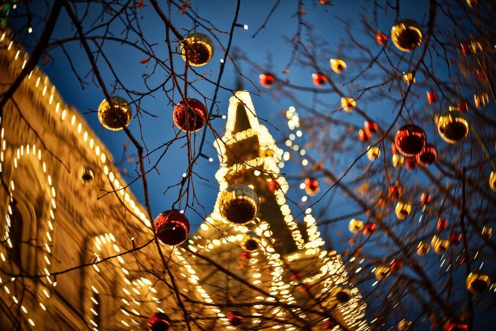 Bożonarodzeniowe dekoracje na Placu Czerwonym