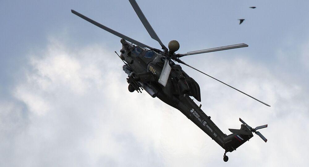 Śmigłowiec szturmowy Mi-28H na pokazie MAKS 2017 w Żukowskim
