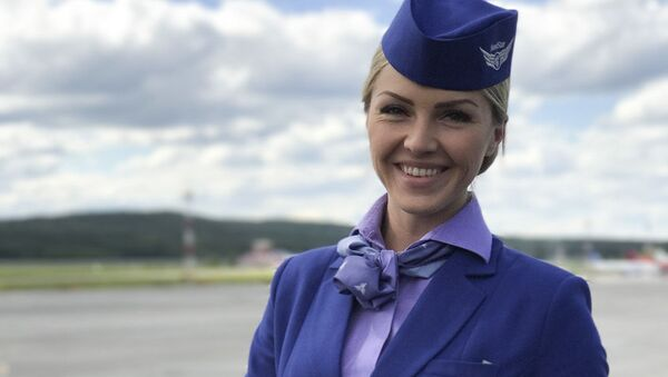 Miss Publiczności międzynarodowego konkursu Top Stewardess 2017 Jekaterina Galimowa z linii lotniczych Nord Star. - Sputnik Polska