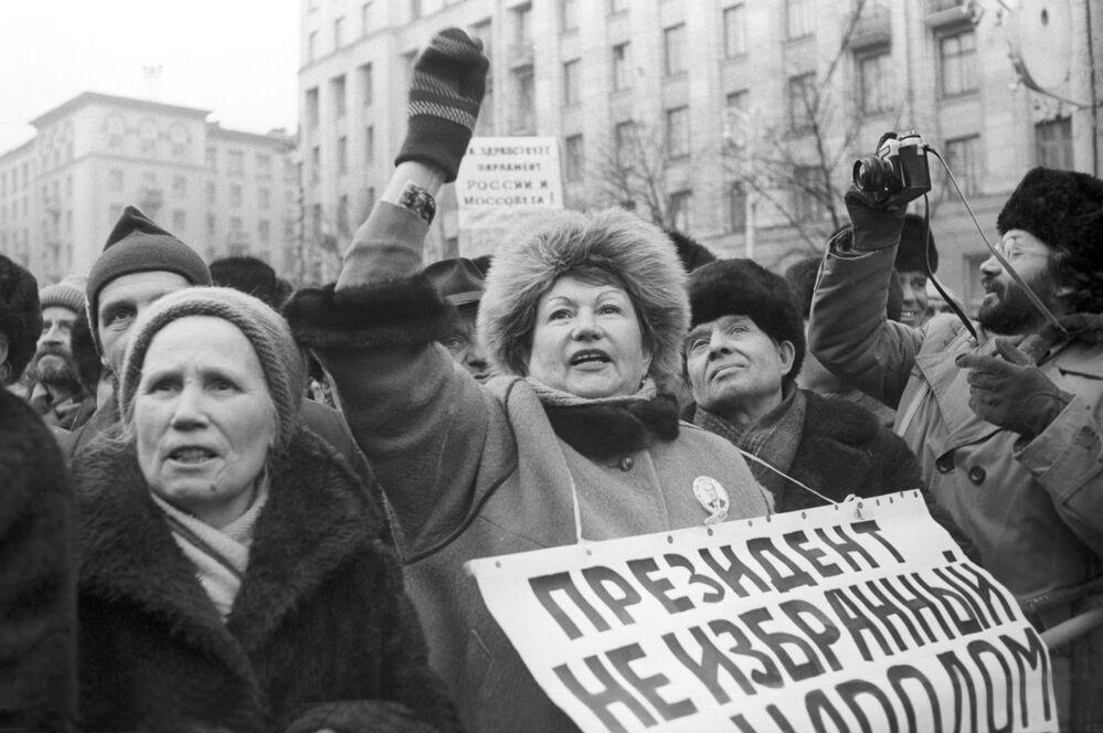 Demonstracja Sił Demokratycznych na Placu Sowieckim, 1990 rok