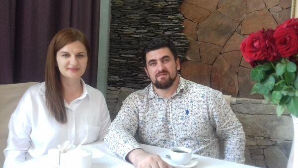 Generalny dyrektor Kompanii Filmowej Czeczenfilm Biesłan Terekbajew i Agnieszka Piwar - Sputnik Polska