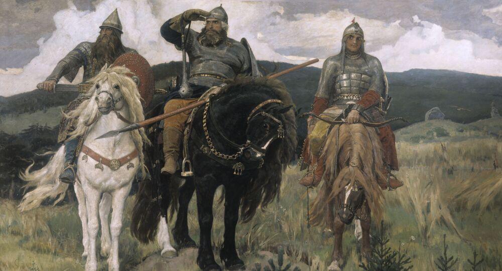 """Reprodukcja obrazu Wiktora Wasniecowa """"Mocarze"""""""