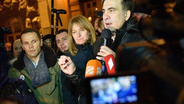 Były prezydent Gruzji, były gubernator obwodu odeskiego Michaił Saakaszwili nieopodal Placu Niepodległości w Kijowie - Sputnik Polska