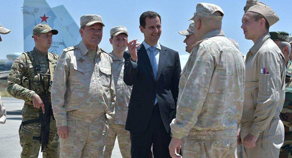 Prezydent Syrii Baszar Asad w bazie Hmeimim