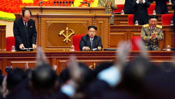 Przywódca KRLD Kim Dzong Un na zjeździe Partii Pracy w Pjongjangu - Sputnik Polska