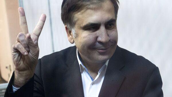 Były prezydent Gruzji, były gubernator obwodu odeskiego Micheil Saakaszwili podczas rozprawy sądowej w Kijowie - Sputnik Polska