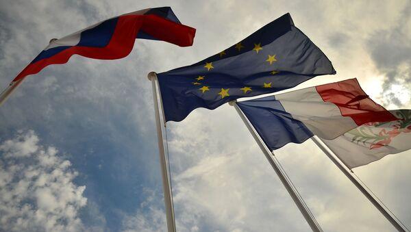 Flagi Rosji, UE, Francji, Nicea - Sputnik Polska
