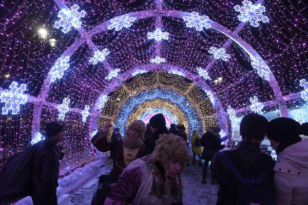 Świąteczne iluminacje w Moskwie - Sputnik Polska