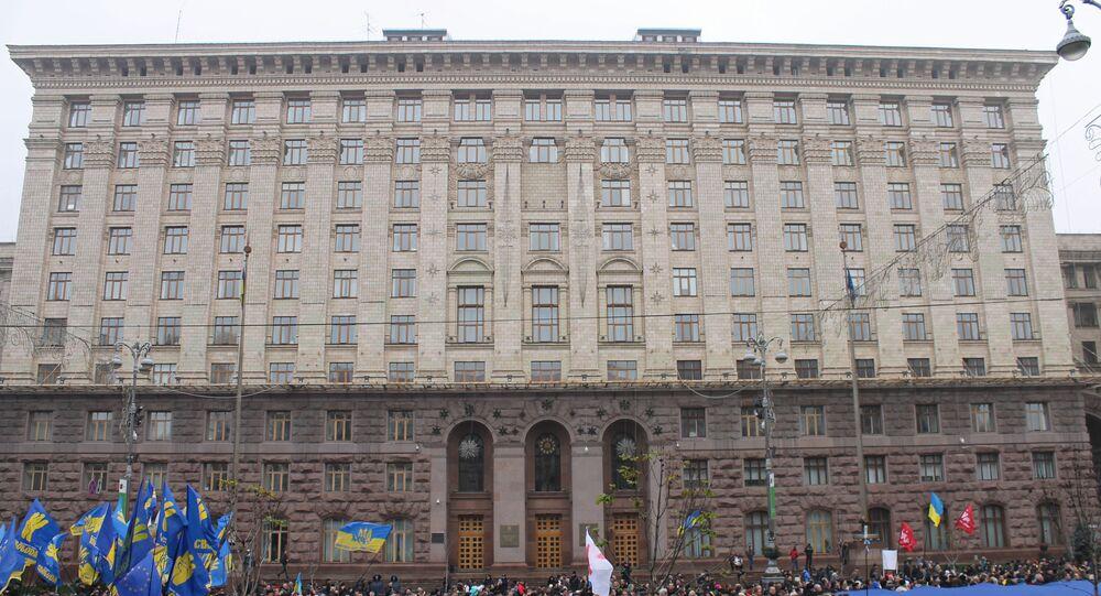 Budynek kijowskiej rady miejskiej na ulicy Chreszczatyk