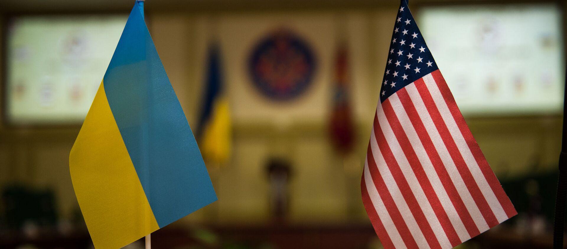 Flagi USA i Ukrainy - Sputnik Polska, 1920, 06.05.2021