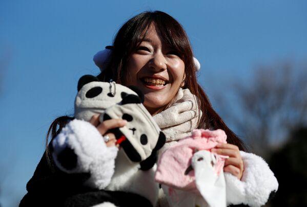 Podczas pierwszego publicznego pojawienia się małej pandy w japońskim zoo. - Sputnik Polska