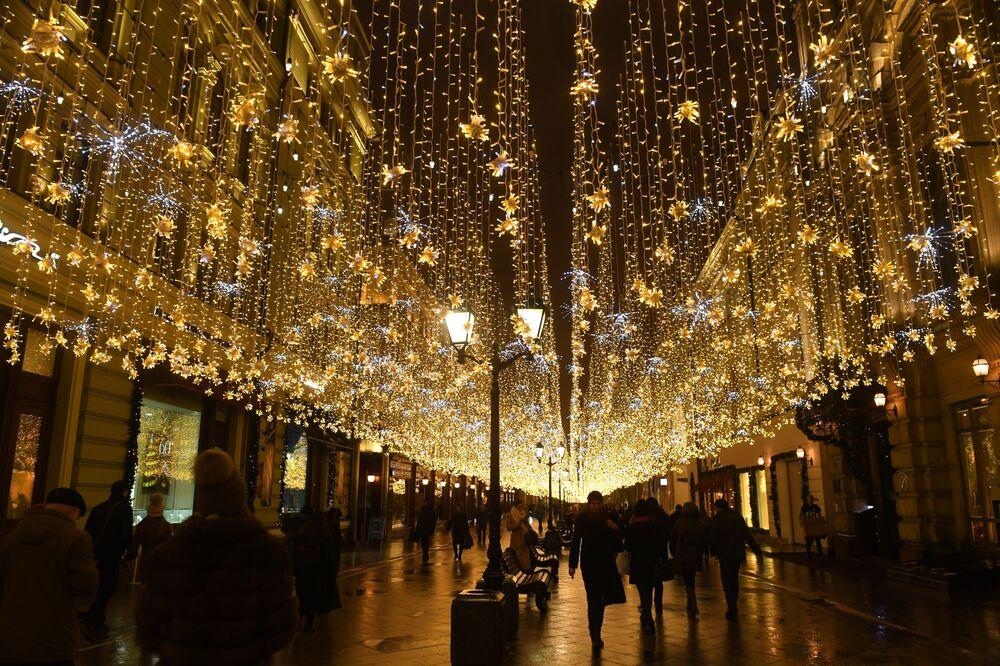 Iluminacje świetlne na ulicach Moskwy