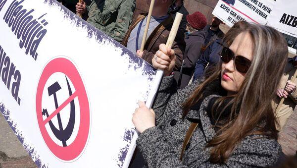 Akcja protestacyjna radykałów w Rydze przeciwko obchodom Dnia Zwycięstwa - Sputnik Polska