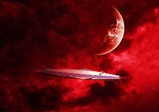 Statek kosmiczny na tle czerwonej planety