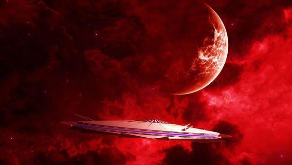 Statek kosmiczny na tle czerwonej planety - Sputnik Polska