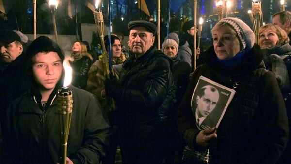 Uczestnicy marszu nacjonalistów w dniu 109. rocznicy urodzin Stepana Bandery we Lwowie - Sputnik Polska