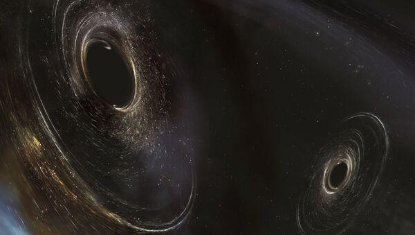 Artystyczne przedstawienie czarnych dziur zlokalizowanych 3 miliardy lat świetlnych od Ziemi - Sputnik Polska