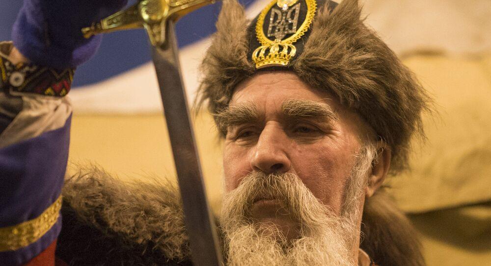 Ukraina. Zwolennik eurointegracji w stroju kozaka