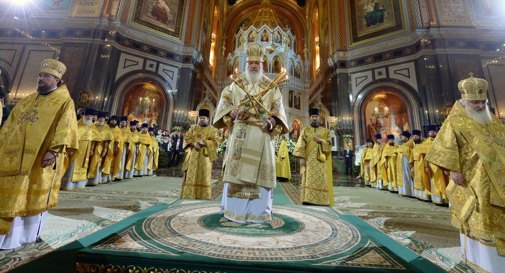 Patriarcha Cyryl podczas mszy