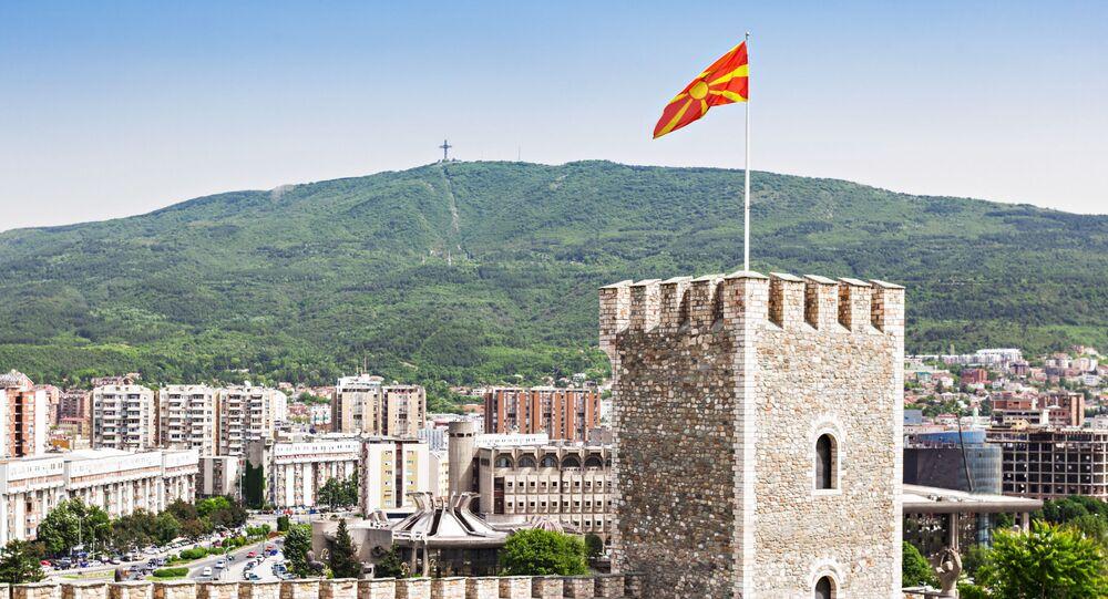 Widok na Skopsko Kale – twierdzę w Skopju, w północnej Macedonii