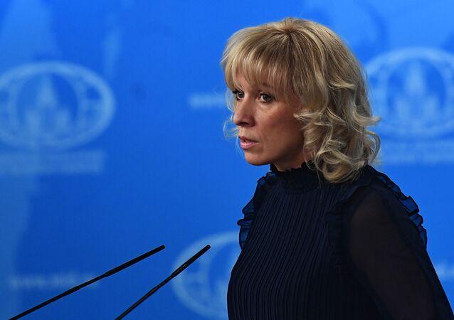 Rzeczniczka Ministerstwa Spraw Zagranicznych Rosji Maria Zacharowa podczas briefingu w Moskwie