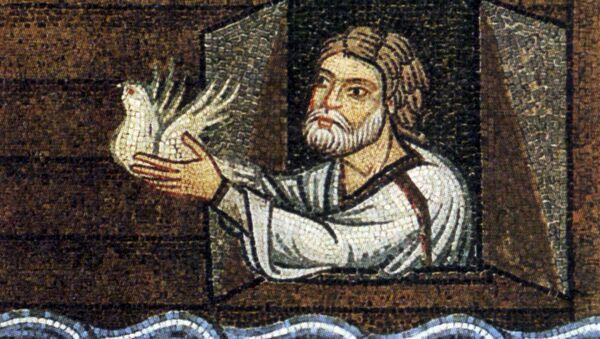 Mozaika przedstawiająca Noego, który wypuszcza z arki gołębia - Sputnik Polska