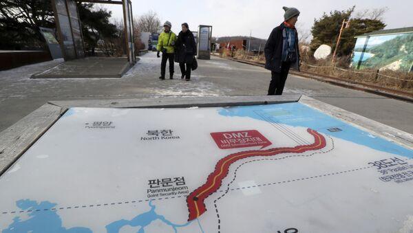 Mapa Korei Północnej i Korei Południowej w parku Imjingak w Paju - Sputnik Polska