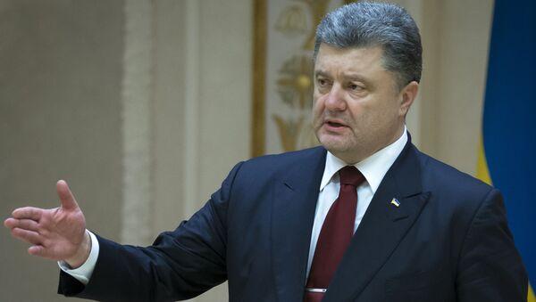 Prezydent Ukrainy Petro Poroszenko podczas konferencji prasowej w Mińsku - Sputnik Polska