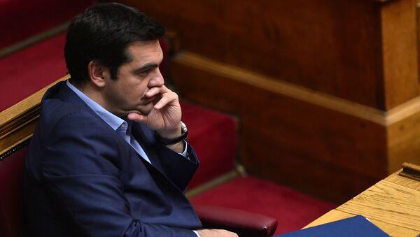 Premier Grecji Aleksis Tsipras na posiedzeniu parlamentu w Atenach - Sputnik Polska