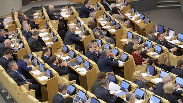 Deputowani na posiedzeniu plenarnym Dumy Państwowej Federacji Rosyjskiej - Sputnik Polska