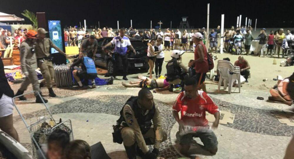 Samochód wjechał w tłum ludzi na plaży w Brazylii