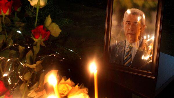 Portret serbskiego polityka Olivera Ivanovicia na miejscu zabójstwa - Sputnik Polska