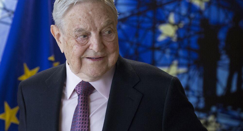Amerykański miliarder George Soros w czasie wizyty w Brukseli
