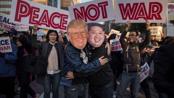 Protesty w Korei Południowej w przeddzień wizyty Trumpa - Sputnik Polska