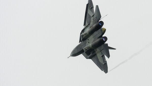 Myśliwiec T-50 w czasie wszechrosyjskiej fazy konkursu międzynarodowego Aviadarts-2016 - Sputnik Polska
