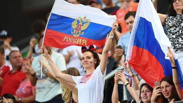 Kibice reprezentacji Rosji w czasie meczu towarzyskiego między reprezentacjami Węgier i Rosji - Sputnik Polska