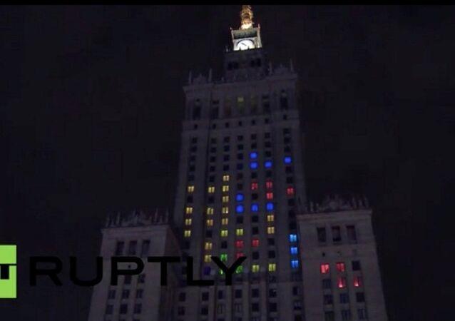 Polacy zagrali w Tetrisa na Pałacu Kultury