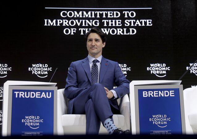 Premier Kanady Justin Trudeau w Davos