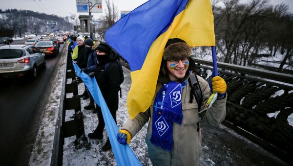 Ukraińcy w czasie świętowania Dnia Jedności Narodowej w Kijowie - Sputnik Polska