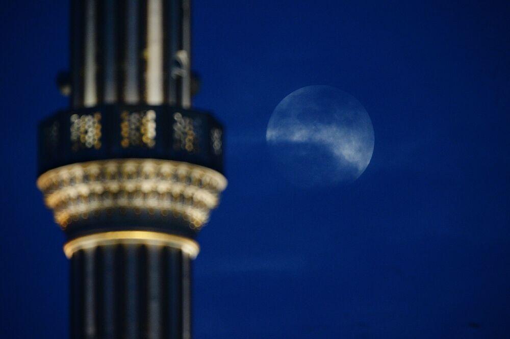 Superksiężyc w stolicy Czeczenii Groznym, Rosja