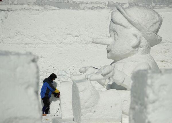 Rzeźba ze śniegu, Korea Południowa - Sputnik Polska